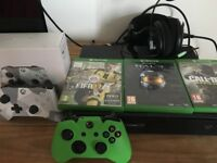 Xbox one 500g with controllers, games and headset