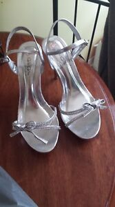 Silver and Rhinestone heels