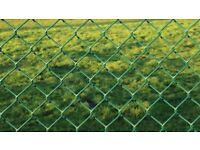 25 M green chain-link mesh fence