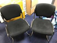 2x Office Guest Visitor Chairs in Black and Chrome