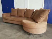 MODERN TAN / LIGHT BROWN FABRIC CORNER SOFA / SETTEE ON CHROME LEGS MADE BY SITS DELIVERY AVAILABLE