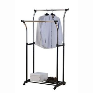 2 tier adjustable clothes trolley  Size: 34.5x22.5x46-70H inch