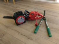 Electric Hedge Trimmer, 15M Extension Lead and Telescopic Shears