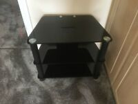 Black glass TV stand console media coffee lamp entertainment vgc