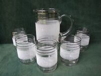 RETRO SET OF 5 GLASSES & JUG FROM 50's 60's