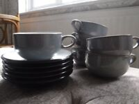 DENBY large coffee cups & saucers - grey/black Jet , RRP £130