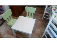 Childrens table ad chairs