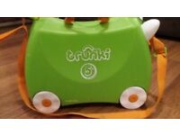 CHILDS TRUNKI RIDE ON SUITCASE WITH PULL ALONG STRAP. GOOD CONDITION