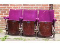 A Row of Three Vintage C1930s Art Deco Cinema Seats & Provenance REF104