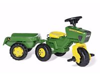 NEW Rolly Toys John Deere Trio Tractor with Electronic Steering Wheel & Sounds