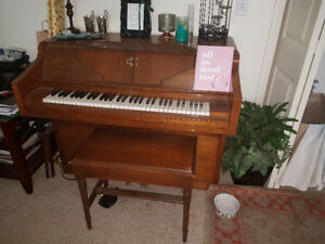 Antique Player Piano with 40+ rolls of music