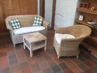 Real wicker sofa and chairs