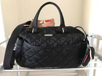 Storksak black quilted bobby baby changing nappy bag
