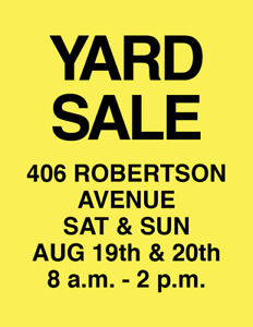 2 Day Yard Sale - Lots of Great Items!
