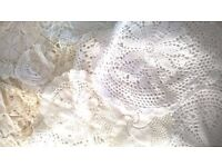 Bag full of crochet doilies white cream and beige