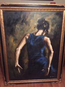 Framed oil painting, signed