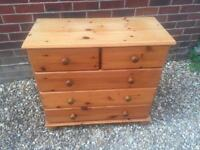 Pine chest of drawers. 2 over 3