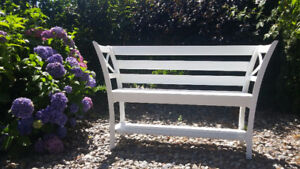 Custom built white bench