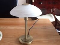 Brushed Brass Halogen Touch Lamp with Opaque Glass Shade H11""