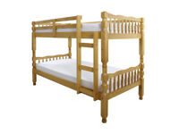 Solid, Brazilian Pine, Bunk Bed, with x 2 9 inch Deep Ortho, Mattress. Stained Lacquered Finish.