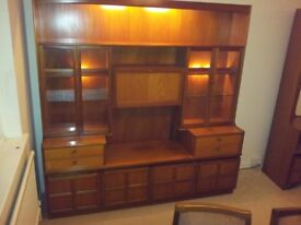 Quality NATHAN Wood Sideboard – Large display Wall Unit with cupboards & draws
