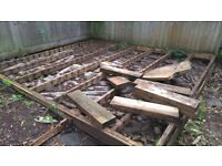 FREE decking base timber for anyone to dismantle and collect.