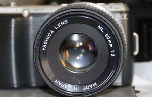 Manual lens Yashica ML 50mm f2 + adapter
