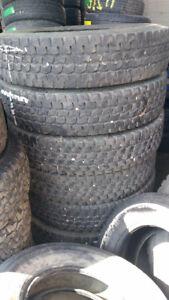 6 Used 11R24.5 Bridgestone M725 Load Range G 14 Ply