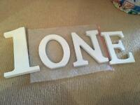 Wooden letters and number 1