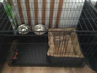 Brand New Dog Cage , bowls , bed and toy