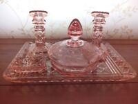 Beautiful vintage pink dressing table set