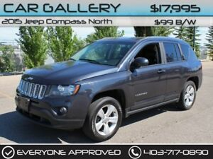 2015 Jeep Compass Sport/North 4X4 w/Leather $99B/W YOU'RE APPROV