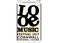 2 Tickets for LOOE Music Festival (Cornwall)
