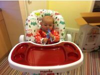 Mamia Highchair Padded, Owls Print Removable Trays