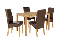 HOME Bromham Dining Table & 4 Skirted Chairs -Oak Chocolate