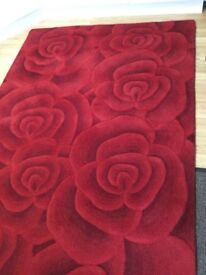 Valentine Red Rose Wool Rug 230 x 150