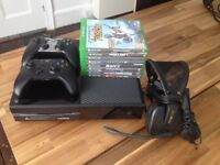 XBOX ONE 500GB (hardly used) + 2 x Controllers (1 x wireless) + 8 Games + Headsets