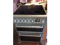 Silver Hotpoint 60cm ceramic hub electric cooker grill & double fan oven with guarantee