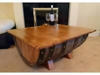 Hand made half barrel coffee table
