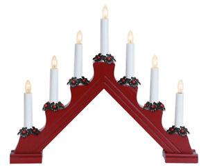 Four Nordic Christmas Candelabras – Red – Wood Base