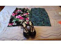 New Look x2 bodycon skirts (size 8 & 10) + wedge black sandal (size 5). Hardly worn so vgc