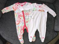 Next Sleepsuits 0-3 Months