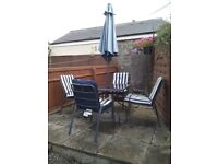Metal Patio Set with Cushions and Parasol