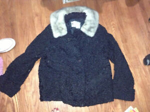 Persian lamb ladies jacket with mink collar for sale