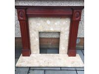FIRE SURROUND AND SOLID MARBLE HEARTH AND BACK PLATE