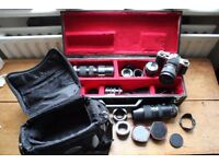 Asahi Pentax S1a Vintage Film Camera with job lot of lenses, bag and a hand made box