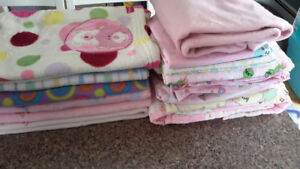 Baby girl blankets and bedding lot