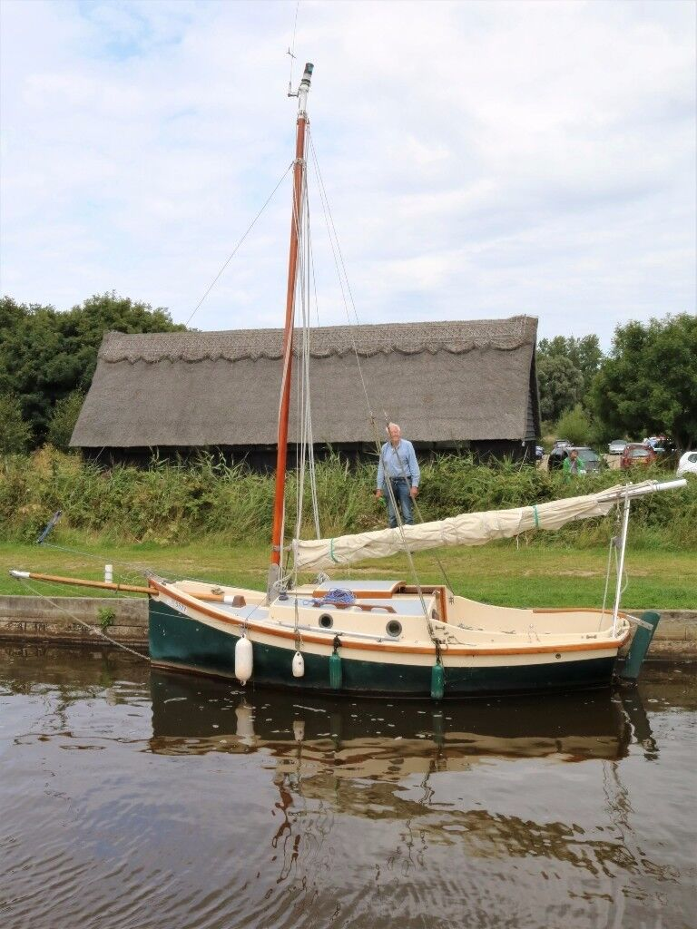 "For sale: ""Frog"" an Oystercatcher 16 small classic gaff rig boat - sleeps two."