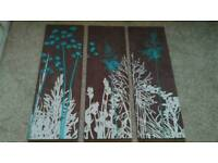 Canvas wall art work. 6 in total of various sizes. Excellent condition.