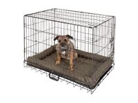 Dog cage medium size with waterproof padded mattress/bed